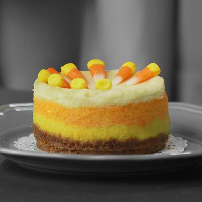 Candy Corn Pumpkin Cheesecake