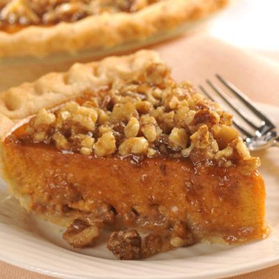 Candied Walnut-Topped Pumpkin Pie