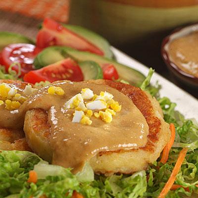 Potato & Cheese Patties with Peanut Sauce