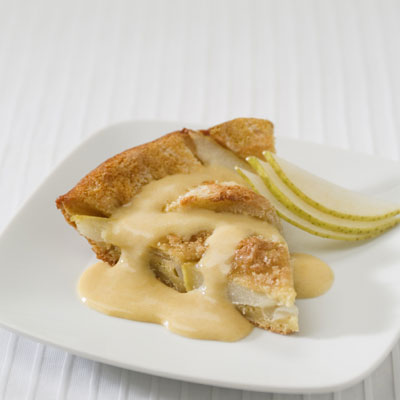 Pear Clafoutis with Cardamom Custard Sauce
