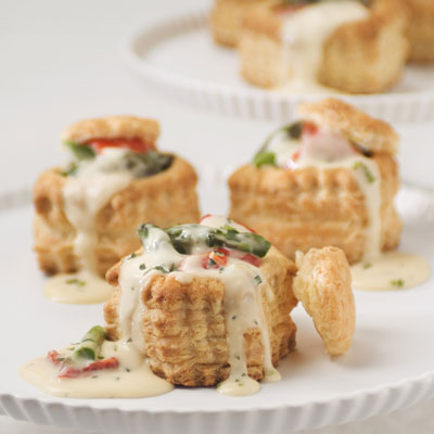 Roasted Asparagus & Red Pepper Tartlets with Tarragon Brie Sauce
