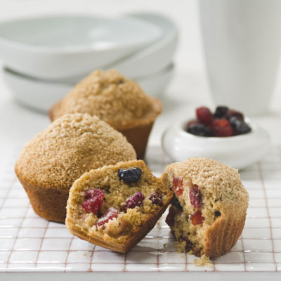 Sugar-Dusted Wheat Muffins with Berries & Cherries