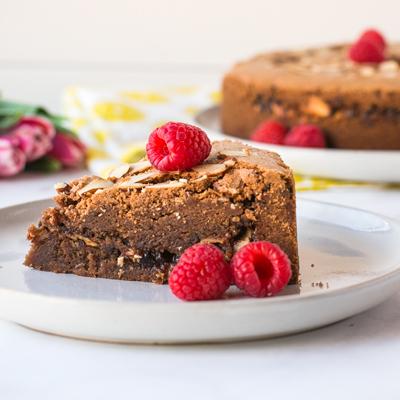 Chewy Chocolate Raspberry Cake