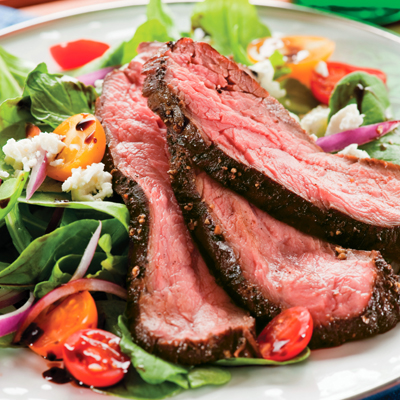 Seared Steak Salad with Balsamic-Shallot Reduction