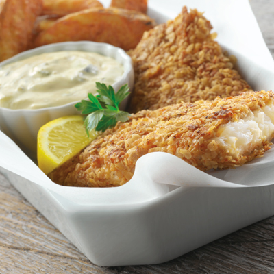 Crispy Oat Crusted Fish Fillets with Carnation Tartar Sauce