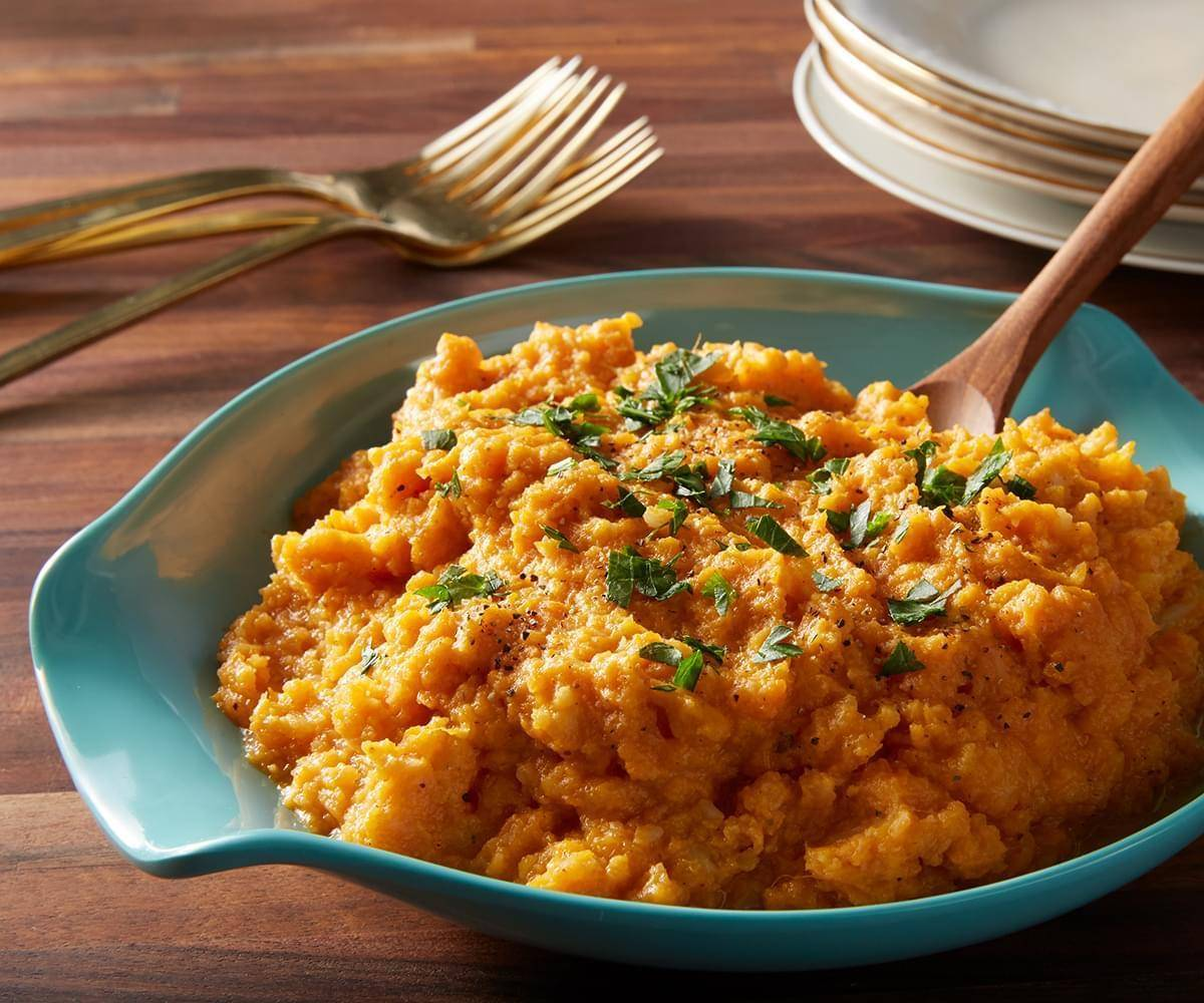 Mashed Sweet Potatoes and Cauliflower
