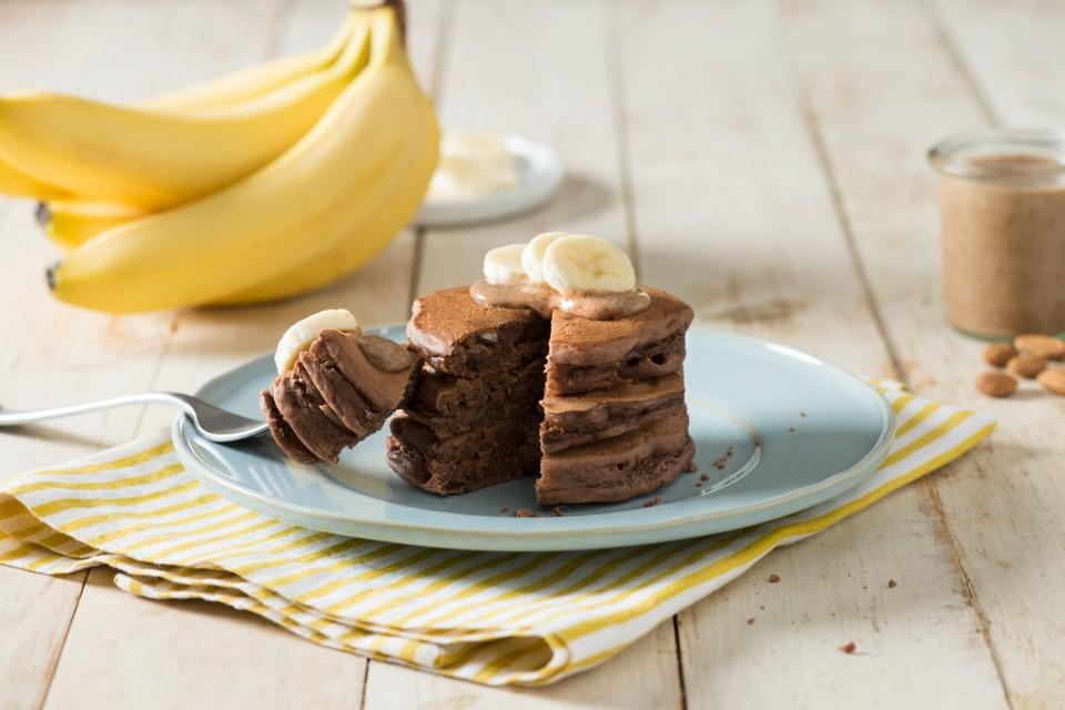 BOOST High Protein Banana Chocolate Buckwheat Pancakes