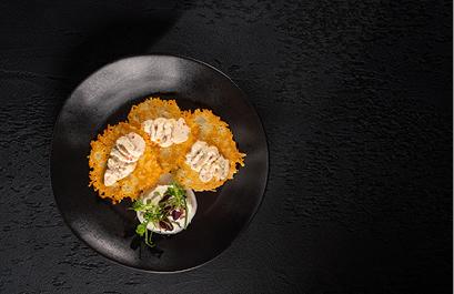 Chicken mousse with crispy parmesan