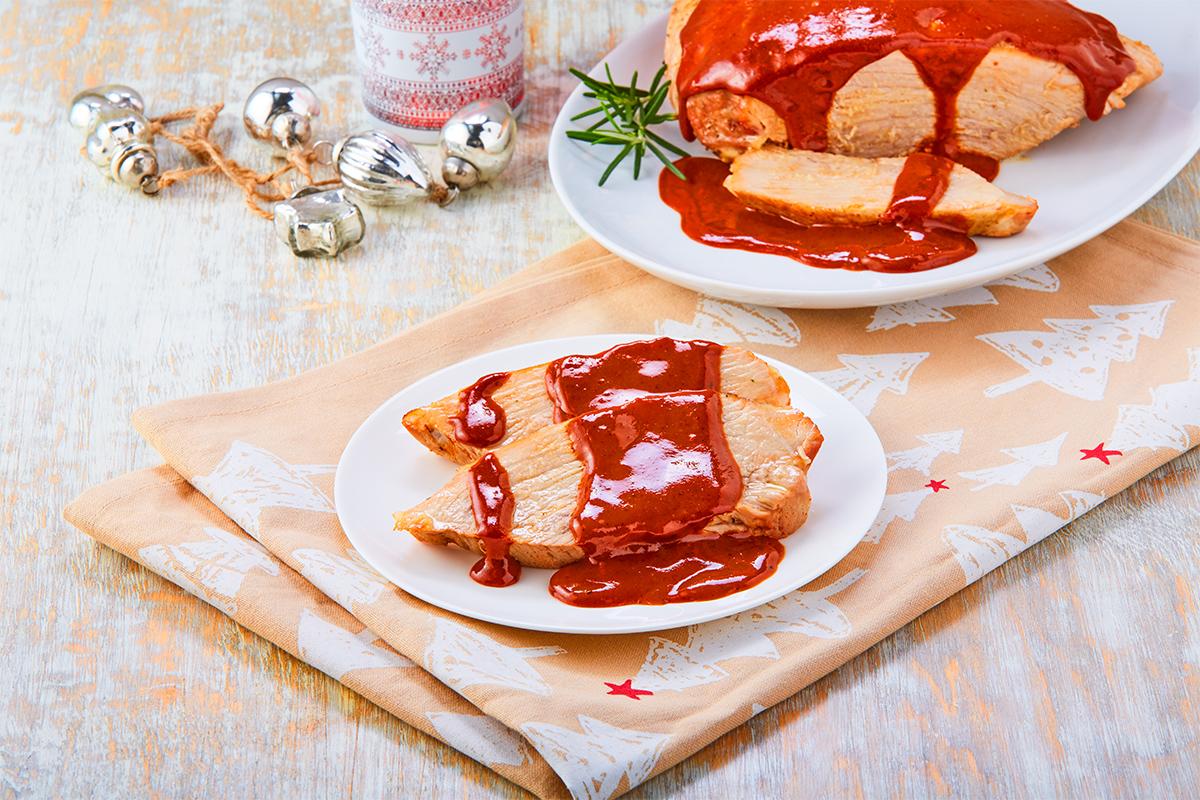 Pierna horneada en salsa de ciruela