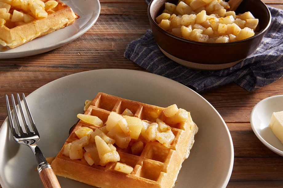 Belgian Waffles with Spiced Pear Compote