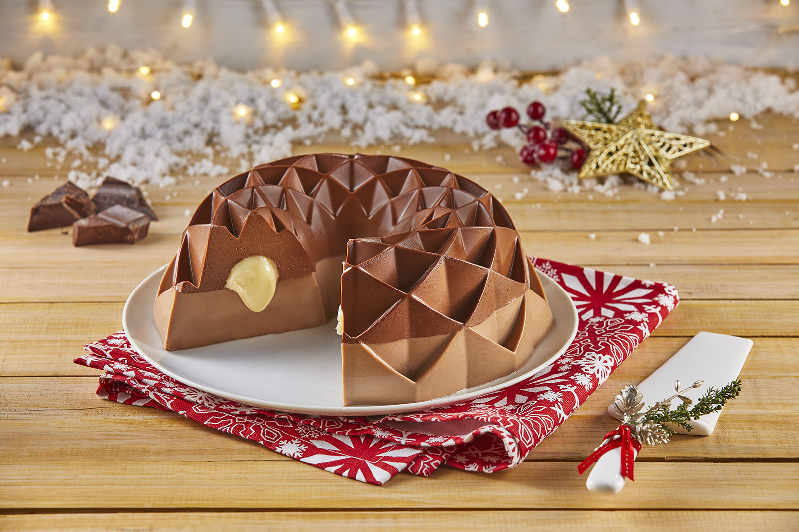 Gelatina rellena de tres chocolates