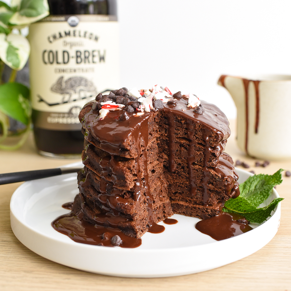 Chocolate Peppermint Cold Brew Pancakes