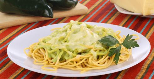 Pasta con salsa de chile poblano
