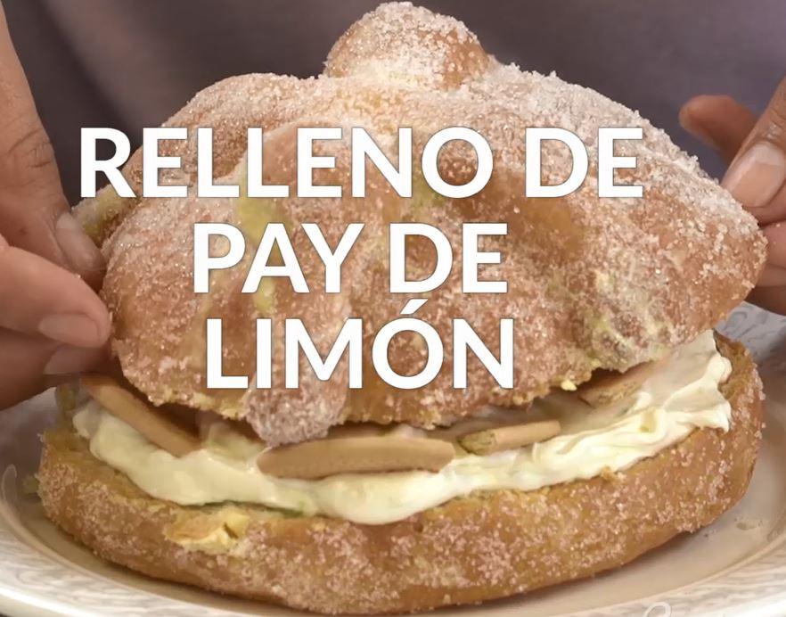 Pan de muerto relleno de pay de limón