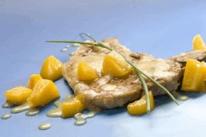 Chuletas con salsa de duraznos y Leche Condensada