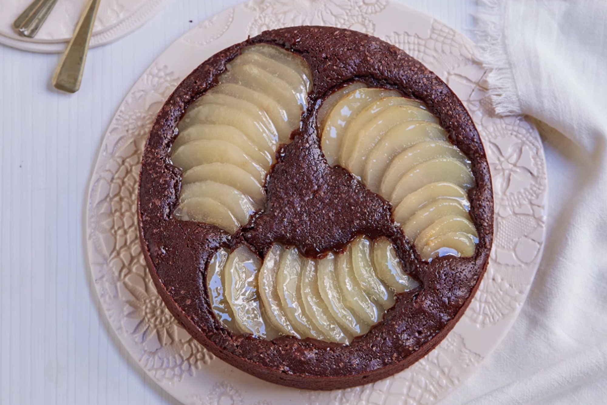Torta húmeda de peras