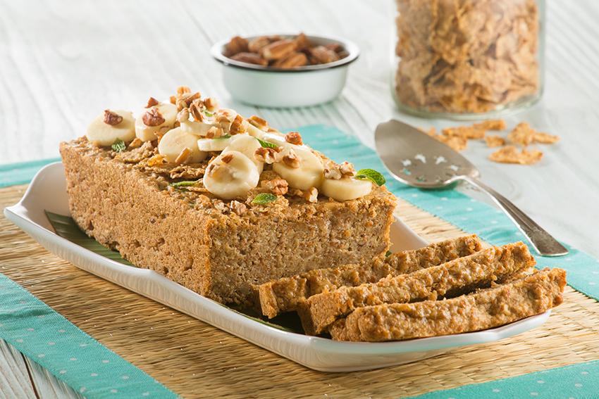 Panqué de plátano y cereal saludable