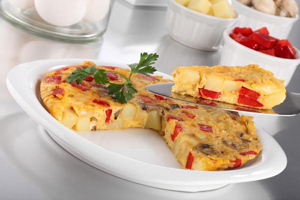 Omelette ligero de queso y champiñones