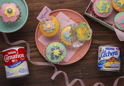 Cupcakes arcoiris con Fondant