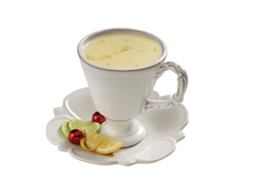 Atole de chocolate blanco con limón