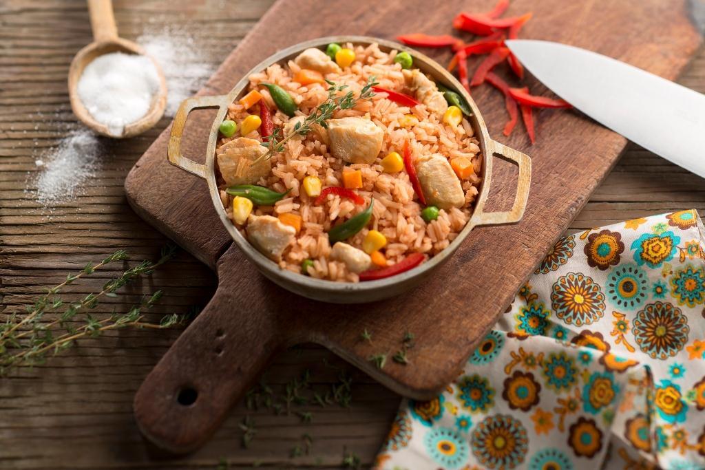 Arroz rápido de pollo y verduras