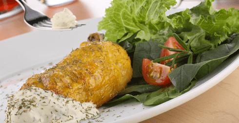 Pollo asado con queso