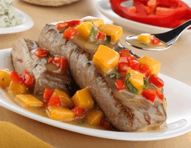 Lomos de atún en salsa de mango