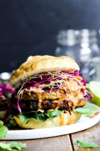 Teriyaki Veggie Burger with mango Cabbage Slaw