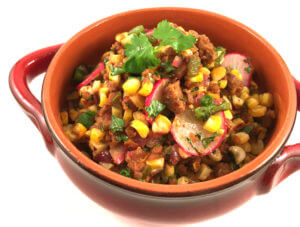 Roasted Corn & Poblano Chili with Chipotle Seitan