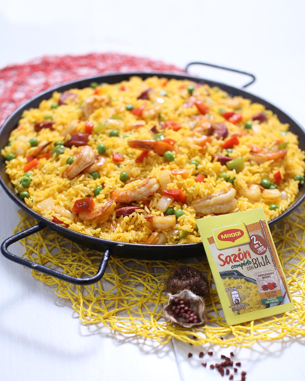Paella de Camarones y Chorizo