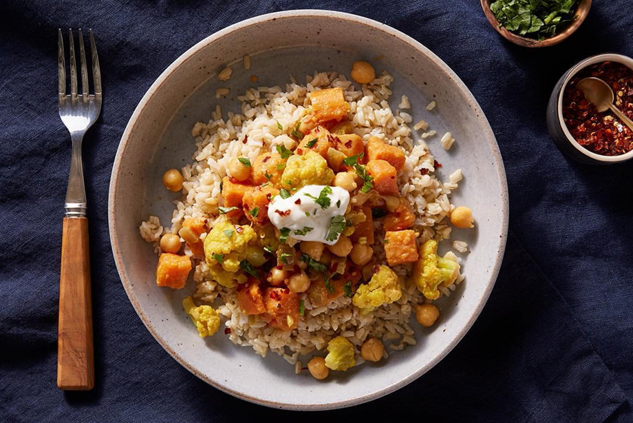 Sweet Potato, Chickpea and Cauliflower Curry