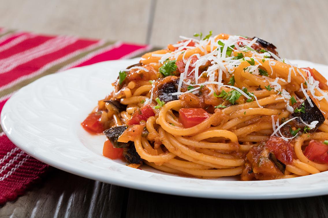 Eggplant & Tomato Pasta