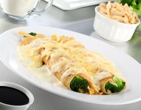 Crepas con brócoli y pollo
