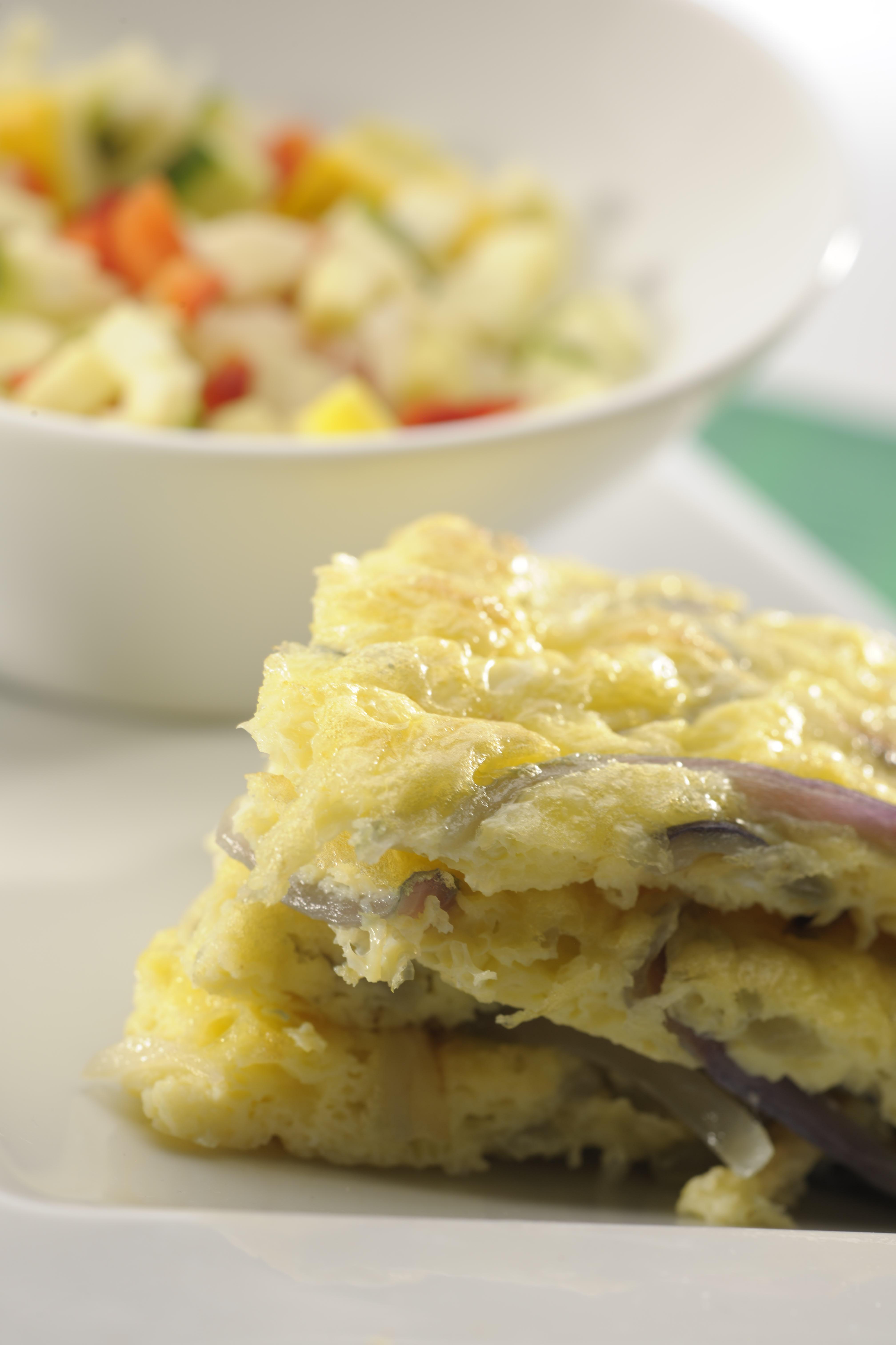Tortilla de cebolla y mozzarella