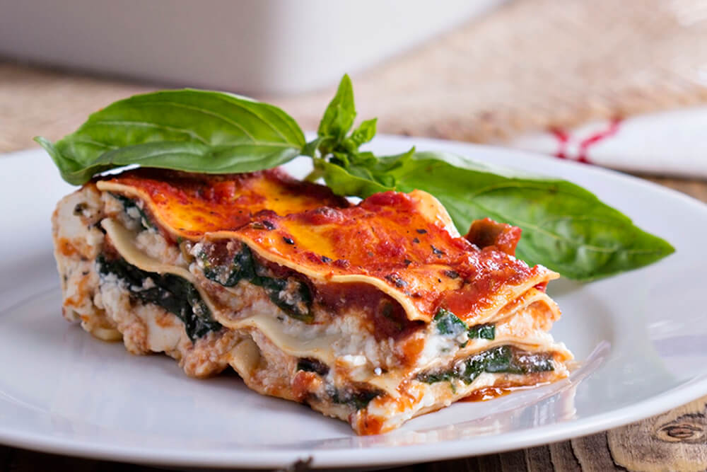 vegan spinach lasagna with tuscan savory grounds