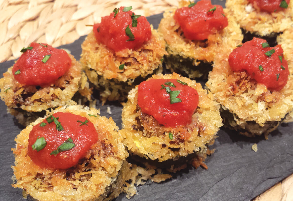 baked zucchini cups with tuscan seitan