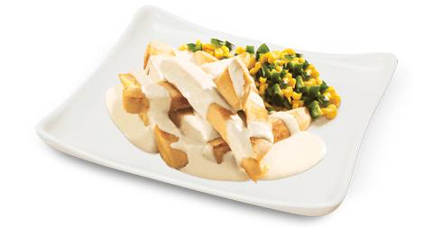 Fajitas de pollo en salsa de queso