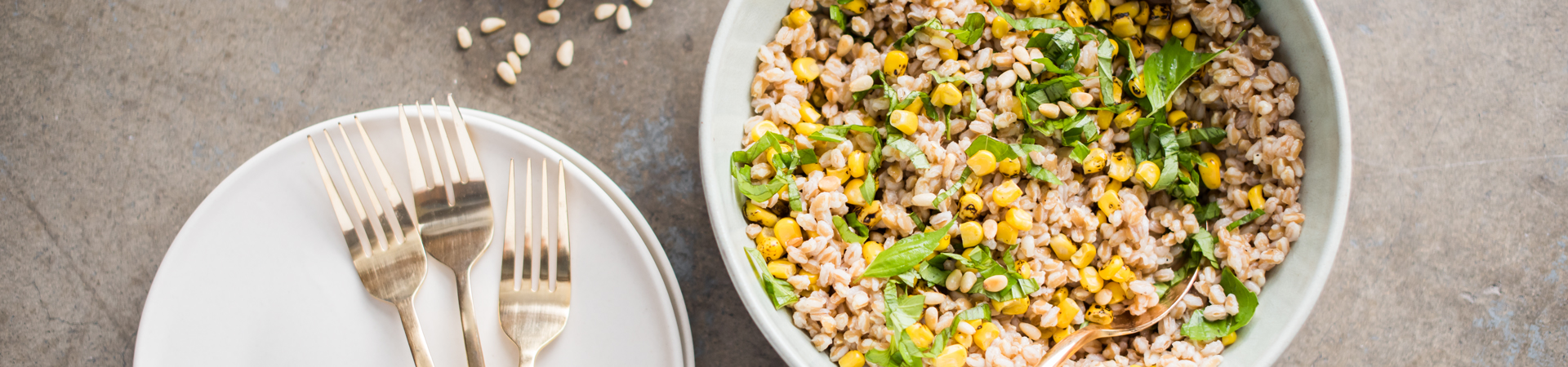 Farro, Corn & Basil Salad