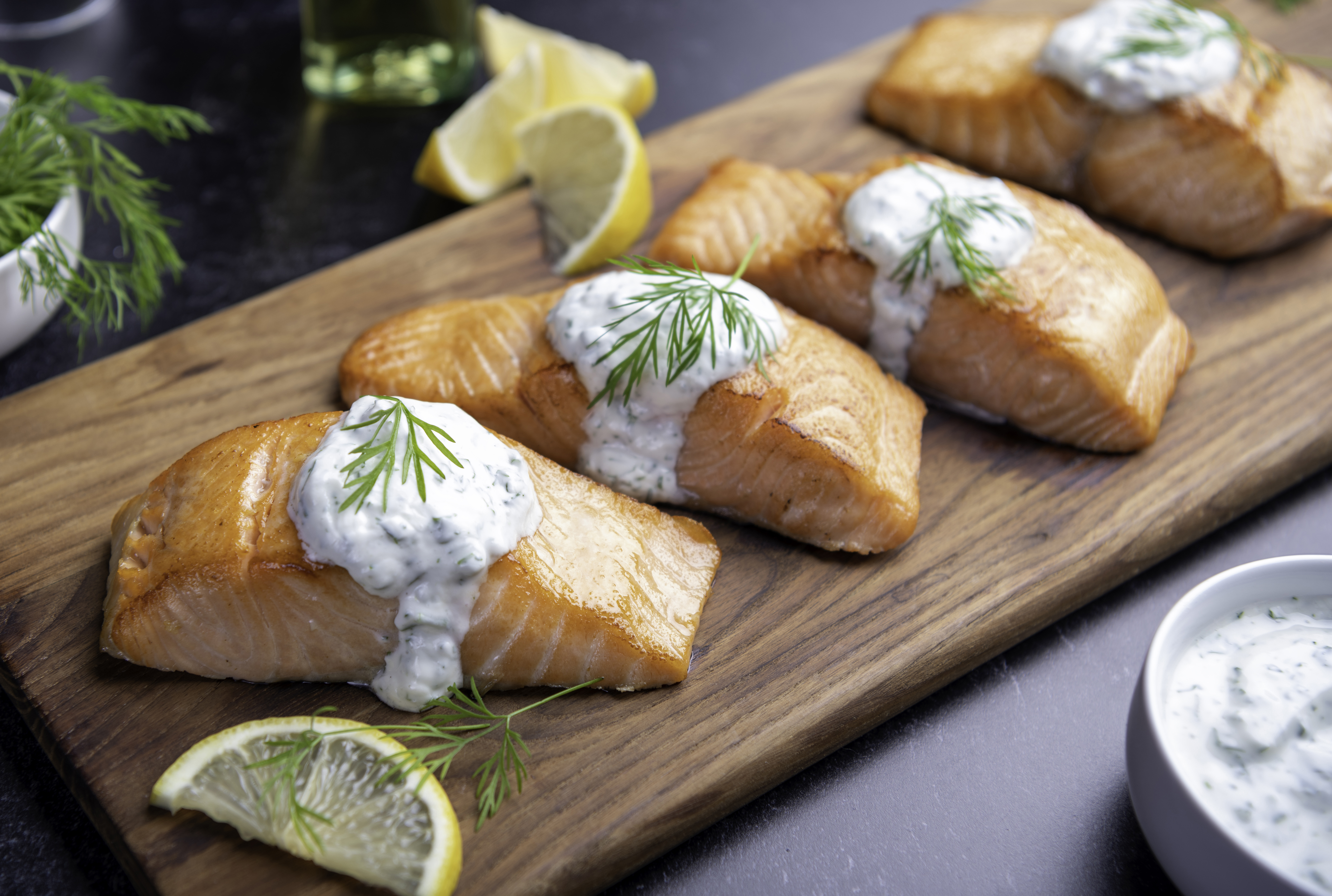 Grilled Salmon with Creamy Herb Sauce