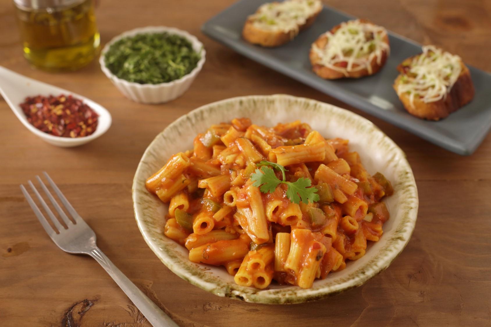 Masala Penne PAZZTA With Tomato Salsa