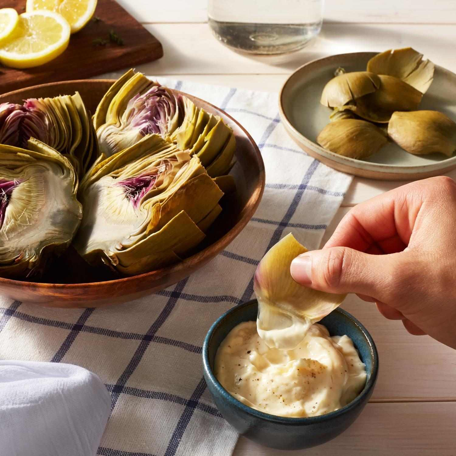 Steamed Artichokes with Lemon Aioli image