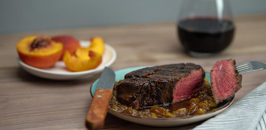 Beef Tenderloin Steaks with Peach Whiskey Sauce