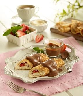 Crepas con salsa de crema de avellanas y cacao