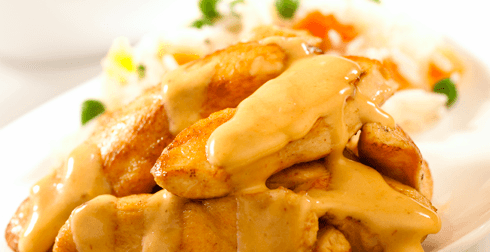 Fajitas de pollo en salsa de chipotle