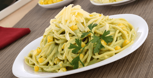Spaghetti en crema verde
