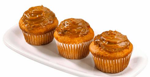 Muffins cubiertos con Dulce de Leche