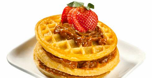Waffles con dulce de leche