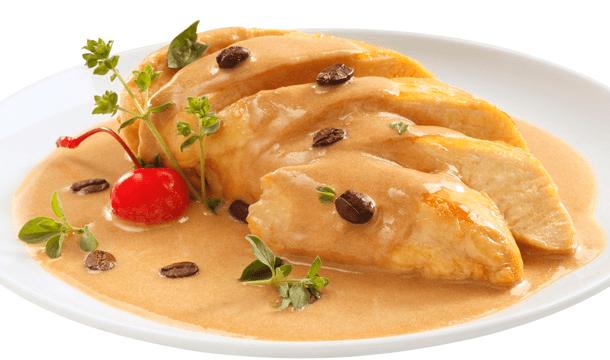 Pollo en salsa de cappuccino