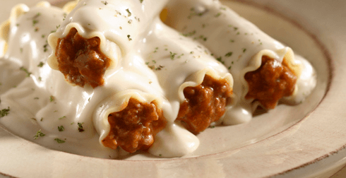 Canelones en salsa blanca