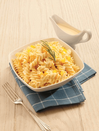 Fusilli en salsa de pimiento y queso